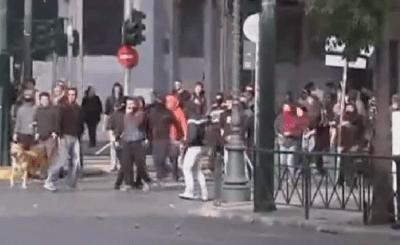 Беспорядки в Афинах. Кадр Spiegel TV