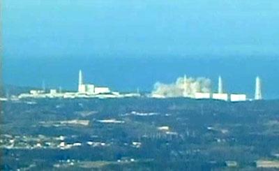 Первый взрыв на АЭС Фукусима. Кадр японского телевидения