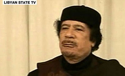 Мауммар Каддафи. Кадр ливийского гостелевидения