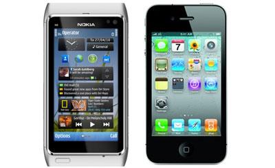 Смартфоны Nokia N8 и iPhone 4