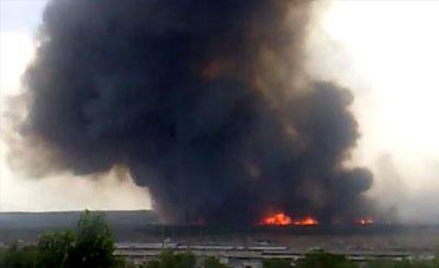Лесной пожар в Воронеже. Кадр видеосъемки с сайта youtube.com пользователя bpbioz
