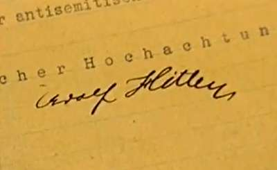 Фрагмент письма Гитлера. Телекадр НТВ