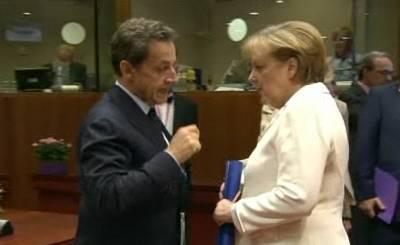 Николя Саркози и Ангела Меркель. Телекадр N24