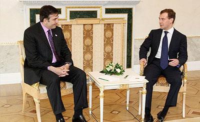 Михаил Саакашвили и Дмитрий Медведев, 2008 год. Фото для прессы с сайта kremlin.ru