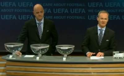 Процедура жеребьёвки Лиги Чемпионов. Телекадр UEFA
