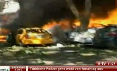 Место взрыва в Анкаре. Кадр, переданный телеканалом n-tv