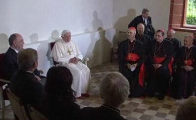 Папа римский Бенедикт XVI в Эрфурте. Кадр телеканала n-tv