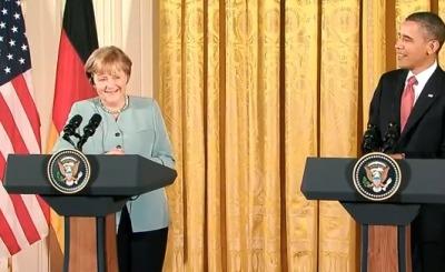 Ангела Меркель и Барак Обама. Телекадр WH.gov