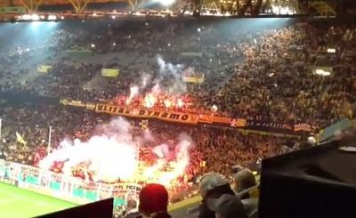Власти Германии обеспокоены агрессивным поведением футбольных фанатов. Скриншот Youtube. Видео пользователя Duitslander