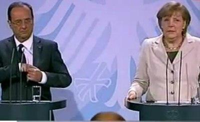 Олланд и Меркель. Скриншот Youtube. Видео пользователя publicsenat