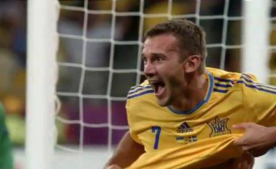 Андрей Шевченко принес Украине первую победу на Евро-2012. Кадр телеканала Футбол