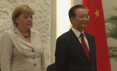 Ангела Меркель и Вэнь Цзябао. Кадр телеканала n-tv