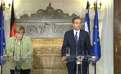 Ангела Меркель и Антонис Самарас. Кадр телеканала N24