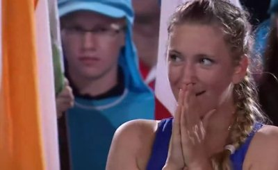 Виктория Азаренко - победительница Australian Open 2013. Кадр телеканала Eurosport